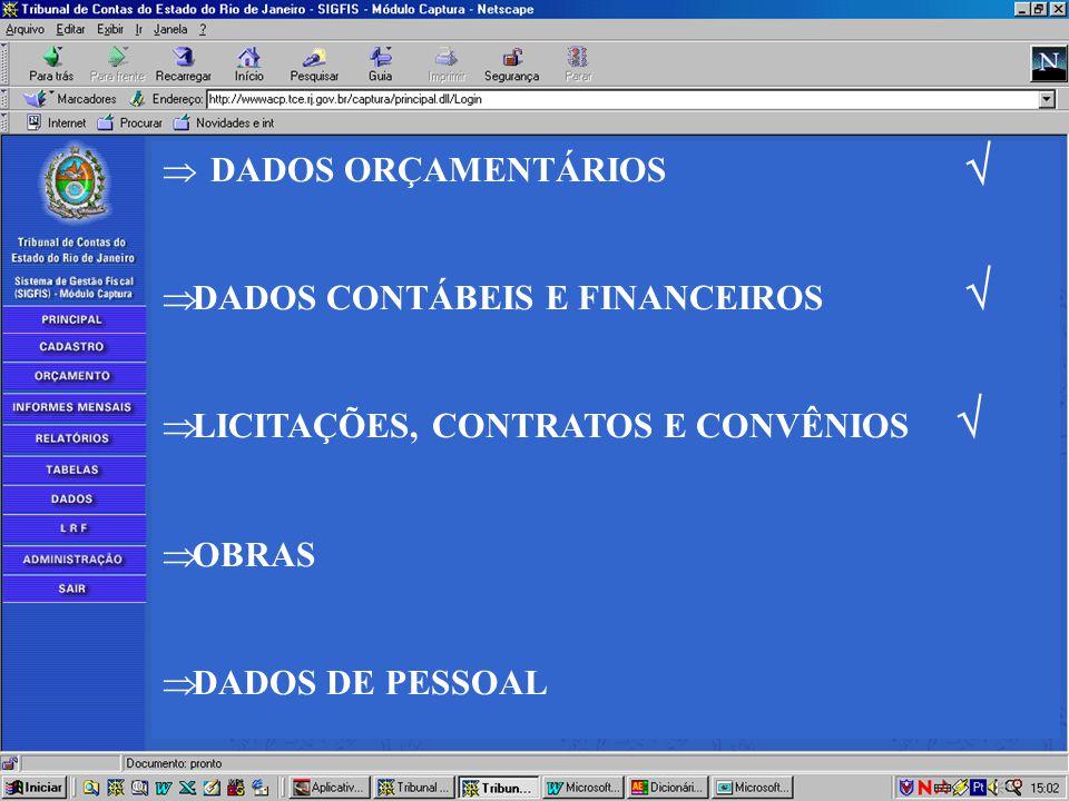  DADOS ORÇAMENTÁRIOS  DADOS CONTÁBEIS E FINANCEIROS  LICITAÇÕES E CONTRATOS  OBRAS  DADOS DE PESSOAL    DADOS ORÇAMENTÁRIOS  DADOS CONTÁBEIS E FINANCEIROS  LICITAÇÕES, CONTRATOS E CONVÊNIOS  OBRAS  DADOS DE PESSOAL   