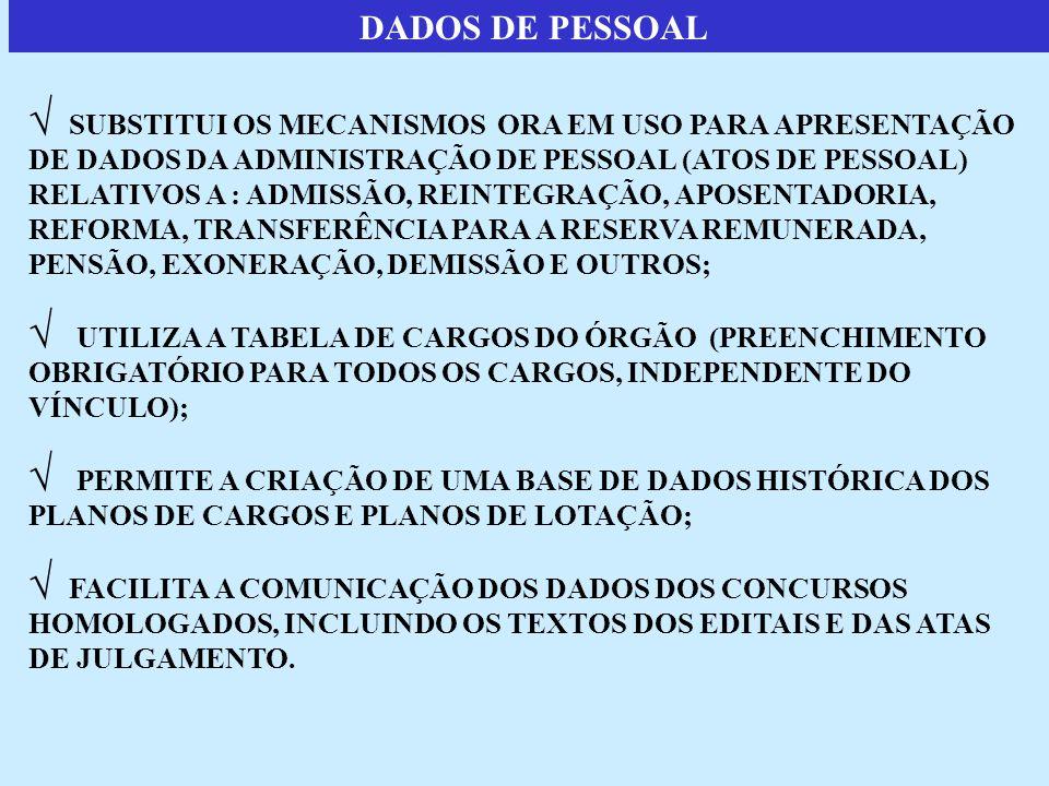 DADOS DE PESSOAL  SUBSTITUI OS MECANISMOS ORA EM USO PARA APRESENTAÇÃO DE DADOS DA ADMINISTRAÇÃO DE PESSOAL (ATOS DE PESSOAL) RELATIVOS A : ADMISSÃO, REINTEGRAÇÃO, APOSENTADORIA, REFORMA, TRANSFERÊNCIA PARA A RESERVA REMUNERADA, PENSÃO, EXONERAÇÃO, DEMISSÃO E OUTROS;  UTILIZA A TABELA DE CARGOS DO ÓRGÃO (PREENCHIMENTO OBRIGATÓRIO PARA TODOS OS CARGOS, INDEPENDENTE DO VÍNCULO);  PERMITE A CRIAÇÃO DE UMA BASE DE DADOS HISTÓRICA DOS PLANOS DE CARGOS E PLANOS DE LOTAÇÃO;  FACILITA A COMUNICAÇÃO DOS DADOS DOS CONCURSOS HOMOLOGADOS, INCLUINDO OS TEXTOS DOS EDITAIS E DAS ATAS DE JULGAMENTO.