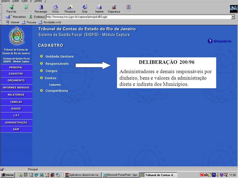 DELIBERAÇÃO 200/96 Administradores e demais responsáveis por dinheiro, bens e valores da administração direta e indireta dos Municípios.