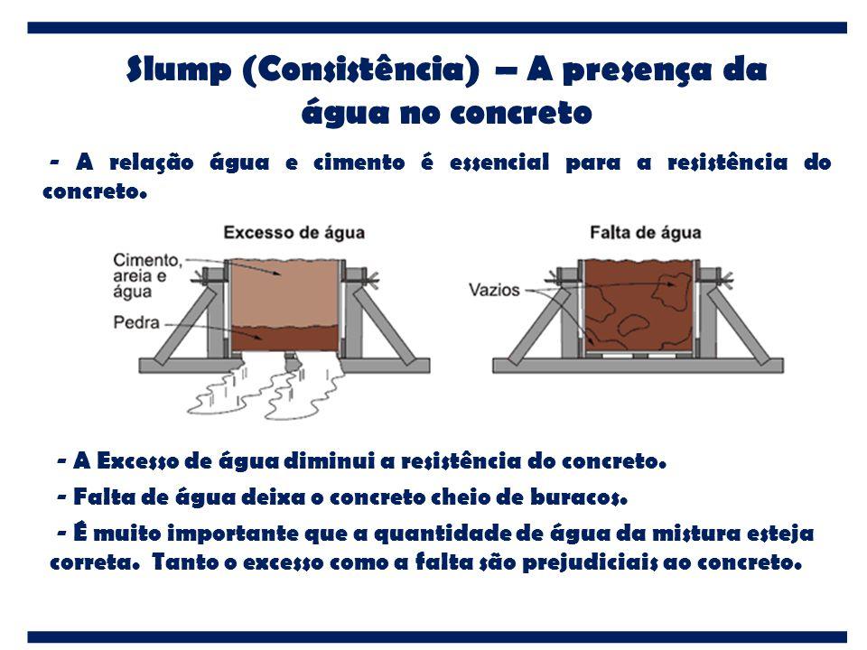 Slump (Consistência) – A presença da água no concreto - A relação água e cimento é essencial para a resistência do concreto. - A Excesso de água dimin
