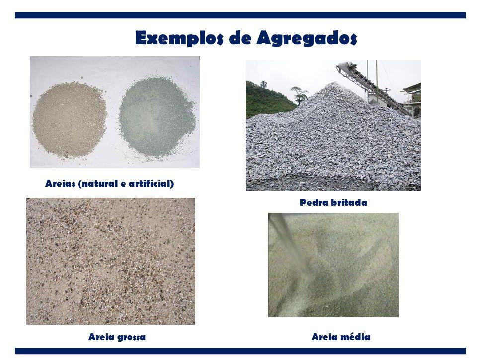 Exemplos de Agregados Areias (natural e artificial) Pedra britada Areia grossaAreia média