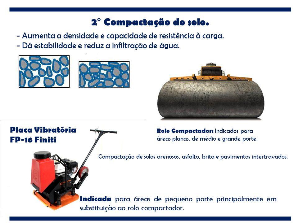 2° Compactação do solo. - Aumenta a densidade e capacidade de resistência à carga. - Dá estabilidade e reduz a infiltração de água. Placa Vibratória F