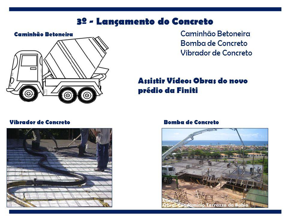 3º - Lançamento do Concreto Caminhão Betoneira Vibrador de ConcretoBomba de Concreto Caminhão Betoneira Bomba de Concreto Vibrador de Concreto Assisti