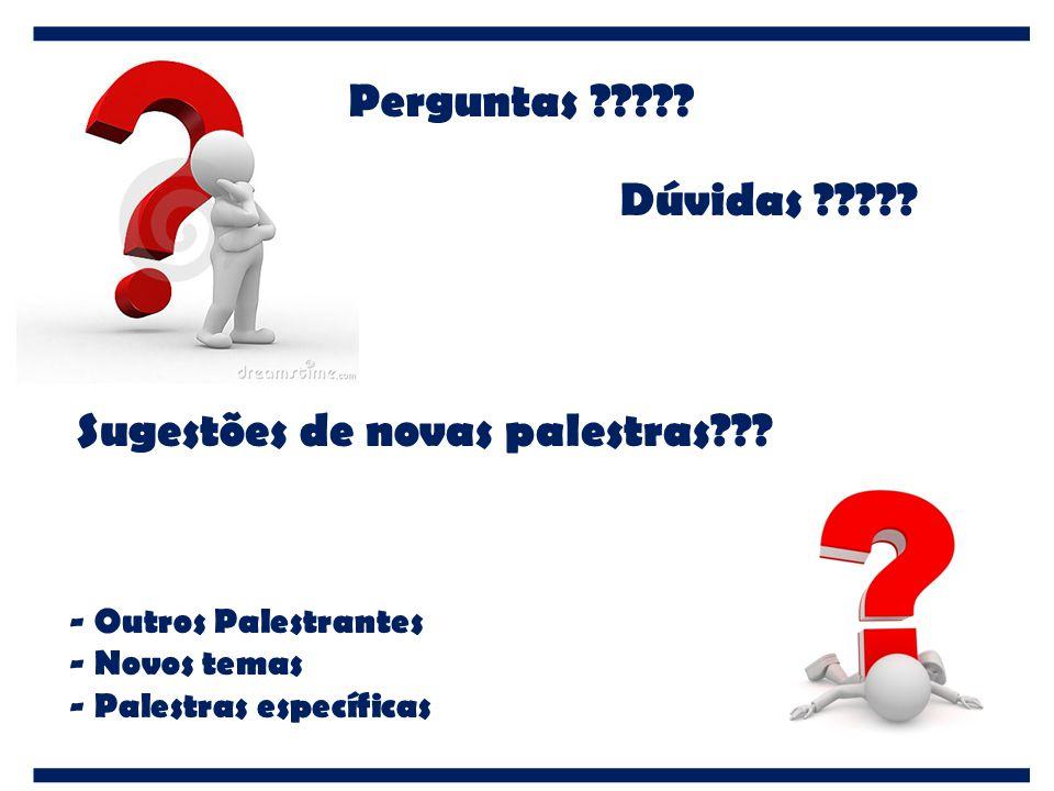 Perguntas ????? Sugestões de novas palestras??? Dúvidas ????? - Outros Palestrantes - Novos temas - Palestras específicas