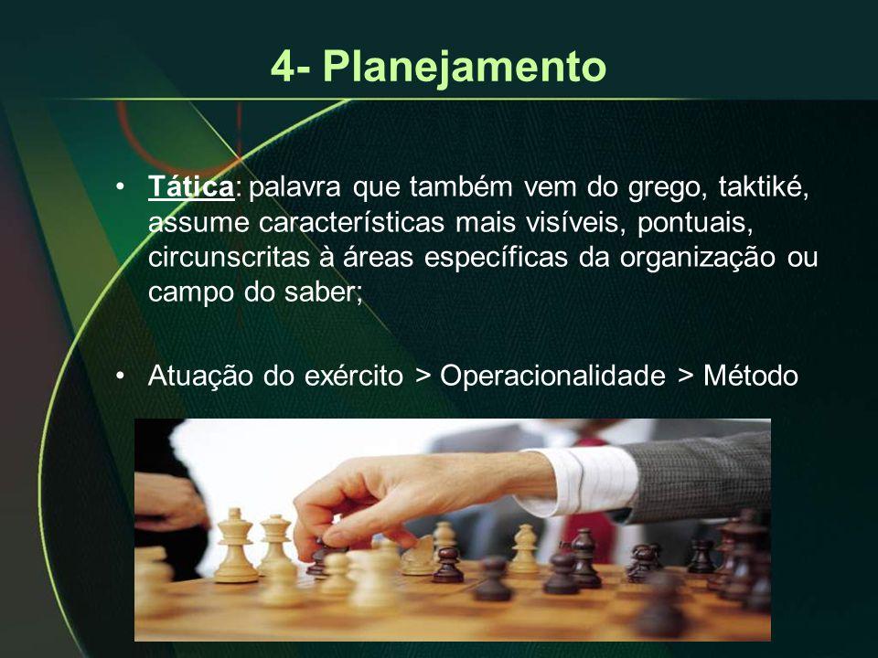 4- Planejamento •Tática: palavra que também vem do grego, taktiké, assume características mais visíveis, pontuais, circunscritas à áreas específicas d