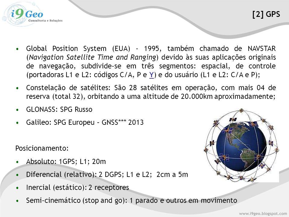 •Global Position System (EUA) - 1995, também chamado de NAVSTAR (Navigation Satellite Time and Ranging) devido às suas aplicações originais de navegação, subdivide-se em três segmentos: espacial, de controle (portadoras L1 e L2: códigos C/A, P e Y) e do usuário (L1 e L2: C/A e P); •Constelação de satélites: São 28 satélites em operação, com mais 04 de reserva (total 32), orbitando a uma altitude de 20.000km aproximadamente; •GLONASS: SPG Russo •Galileo: SPG Europeu – GNSS*** 2013 Posicionamento: •Absoluto: 1GPS; L1; 20m •Diferencial (relativo): 2 DGPS; L1 e L2; 2cm a 5m •Inercial (estático): 2 receptores •Semi-cinemático (stop and go): 1 parado e outros em movimento [2] GPS