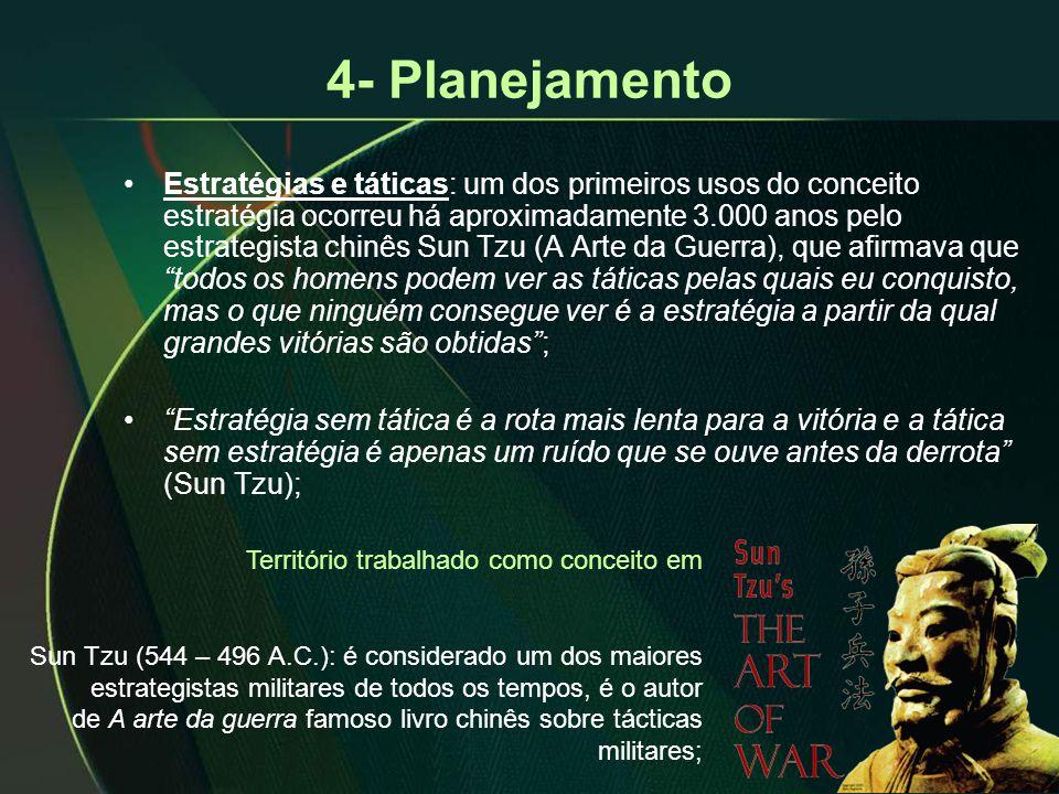 4- Planejamento •Estratégias e táticas: um dos primeiros usos do conceito estratégia ocorreu há aproximadamente 3.000 anos pelo estrategista chinês Su