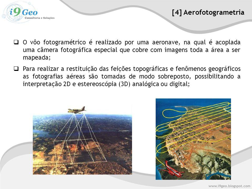  O vôo fotogramétrico é realizado por uma aeronave, na qual é acoplada uma câmera fotográfica especial que cobre com imagens toda a área a ser mapeada;  Para realizar a restituição das feições topográficas e fenômenos geográficos as fotografias aéreas são tomadas de modo sobreposto, possibilitando a interpretação 2D e estereoscópia (3D) analógica ou digital; [4] Aerofotogrametria