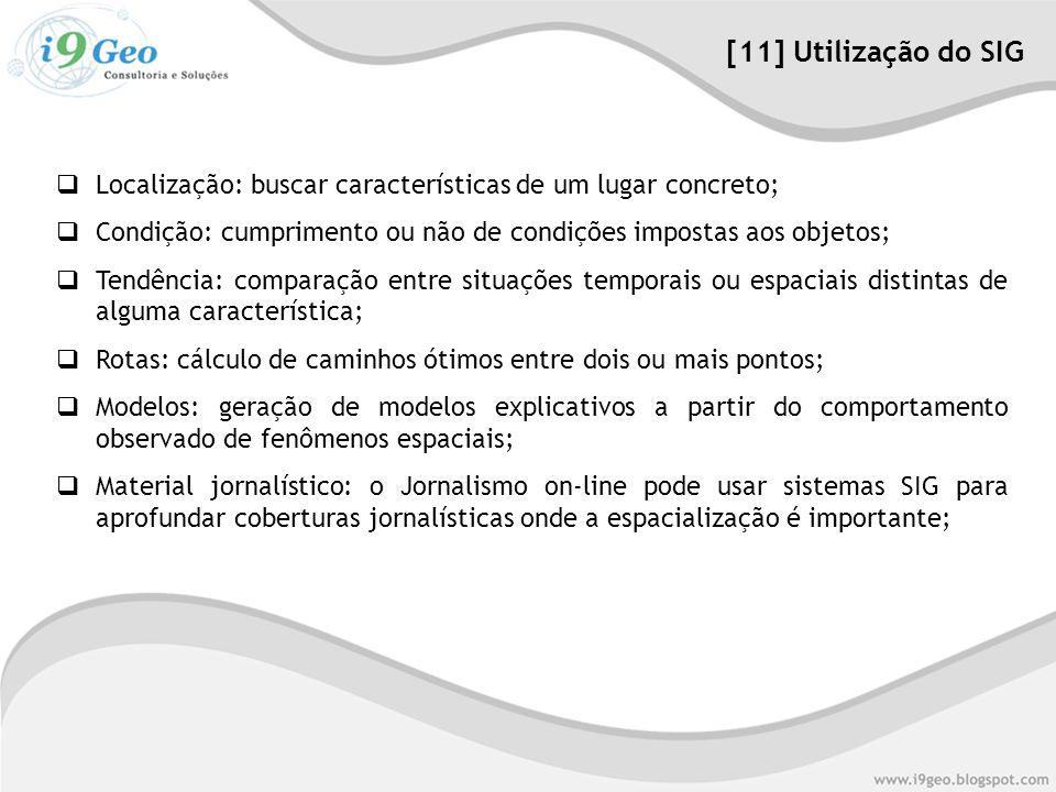  Localização: buscar características de um lugar concreto;  Condição: cumprimento ou não de condições impostas aos objetos;  Tendência: comparação