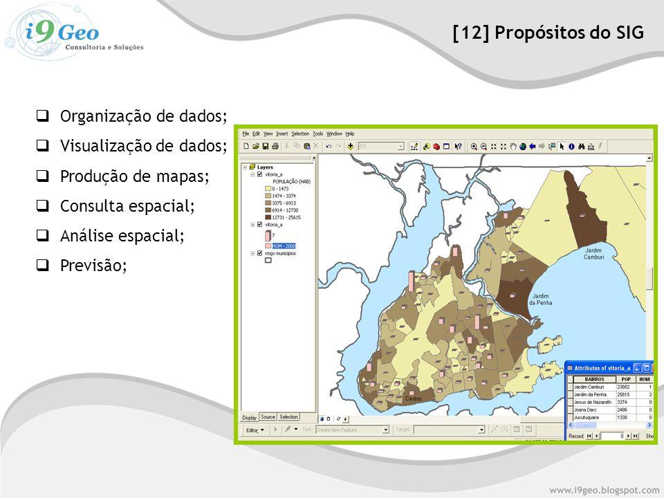  Organização de dados;  Visualização de dados;  Produção de mapas;  Consulta espacial;  Análise espacial;  Previsão; [12] Propósitos do SIG