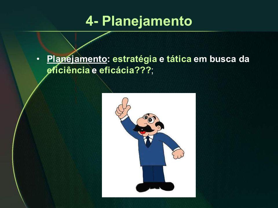 •Planejamento: estratégia e tática em busca da eficiência e eficácia???;