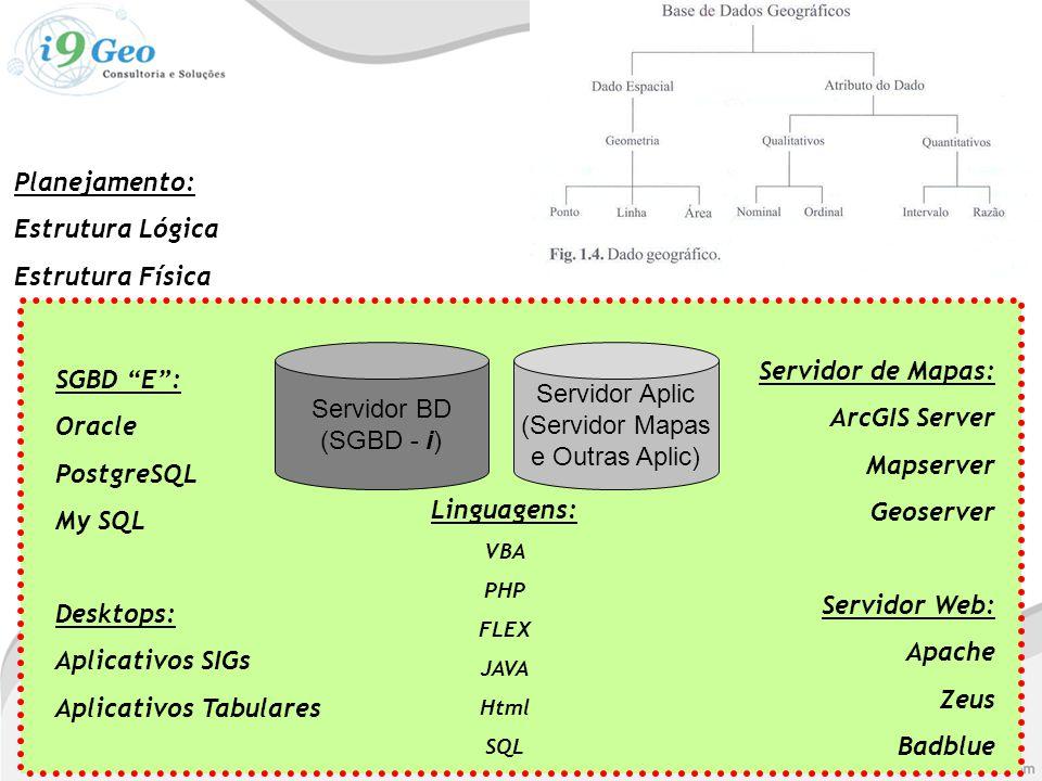 Planejamento: Estrutura Lógica Estrutura Física Servidor BD (SGBD - i) Servidor Aplic (Servidor Mapas e Outras Aplic) SGBD E : Oracle PostgreSQL My SQL Desktops: Aplicativos SIGs Aplicativos Tabulares Servidor de Mapas: ArcGIS Server Mapserver Geoserver Servidor Web: Apache Zeus Badblue Linguagens: VBA PHP FLEX JAVA Html SQL