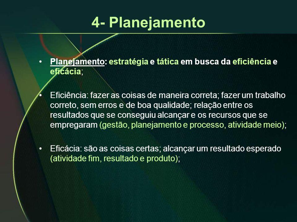 4- Planejamento •Planejamento: estratégia e tática em busca da eficiência e eficácia; •Eficiência: fazer as coisas de maneira correta; fazer um trabal