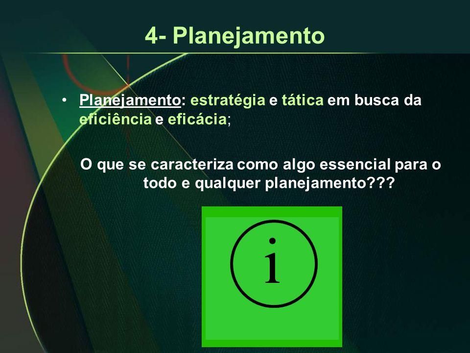 4- Planejamento •Planejamento: estratégia e tática em busca da eficiência e eficácia; O que se caracteriza como algo essencial para o todo e qualquer planejamento??.
