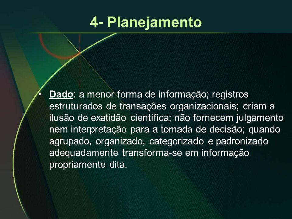 •Dado: a menor forma de informação; registros estruturados de transações organizacionais; criam a ilusão de exatidão científica; não fornecem julgamen