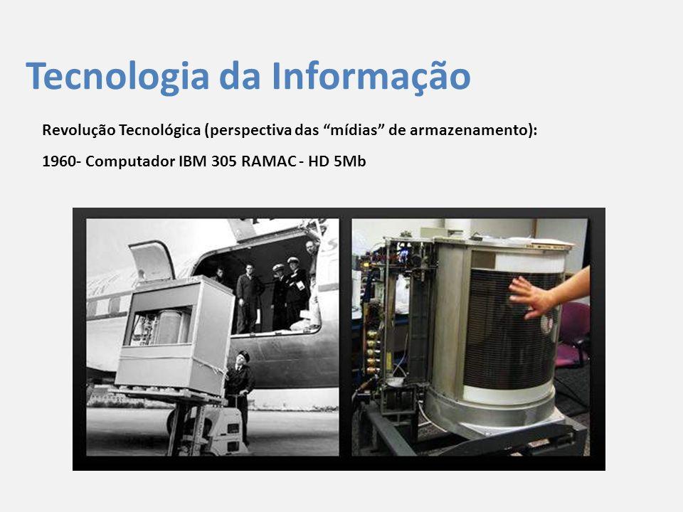 """Tecnologia da Informação Revolução Tecnológica (perspectiva das """"mídias"""" de armazenamento): 1960- Computador IBM 305 RAMAC - HD 5Mb"""