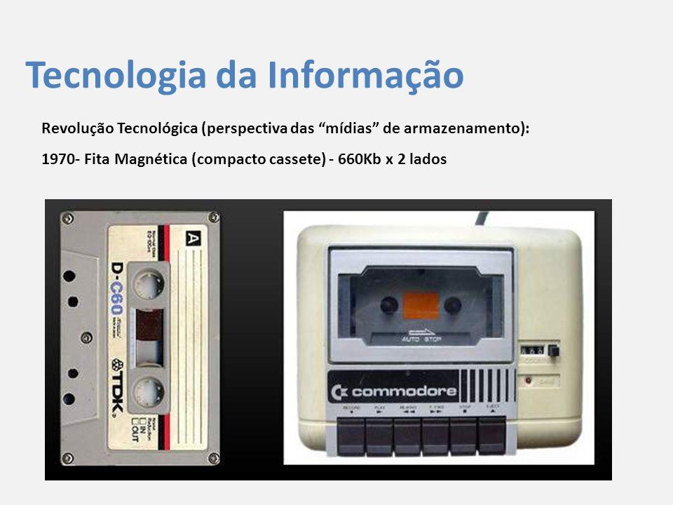 """Tecnologia da Informação Revolução Tecnológica (perspectiva das """"mídias"""" de armazenamento): 1970- Fita Magnética (compacto cassete) - 660Kb x 2 lados"""