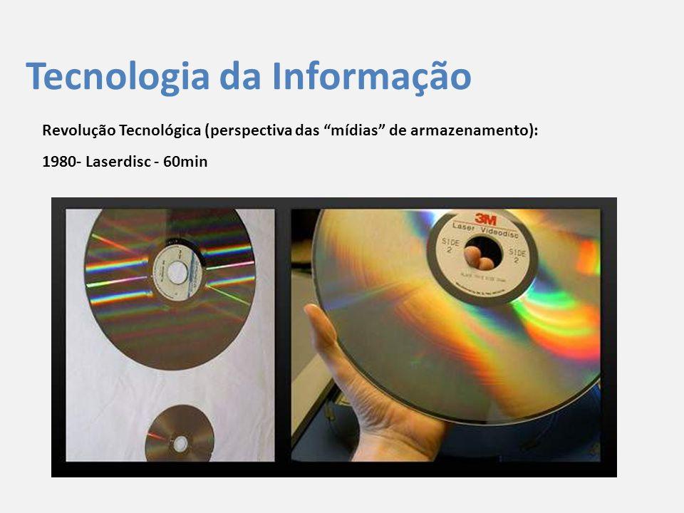 """Tecnologia da Informação Revolução Tecnológica (perspectiva das """"mídias"""" de armazenamento): 1980- Laserdisc - 60min"""