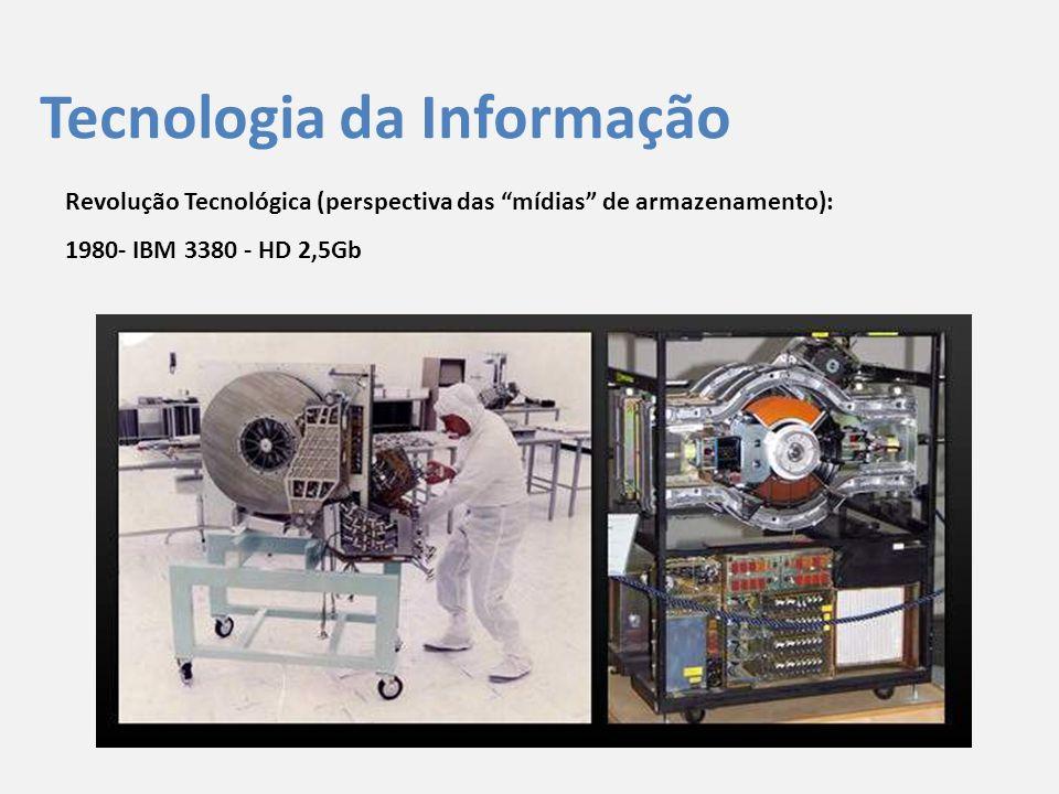 """Tecnologia da Informação Revolução Tecnológica (perspectiva das """"mídias"""" de armazenamento): 1980- IBM 3380 - HD 2,5Gb"""