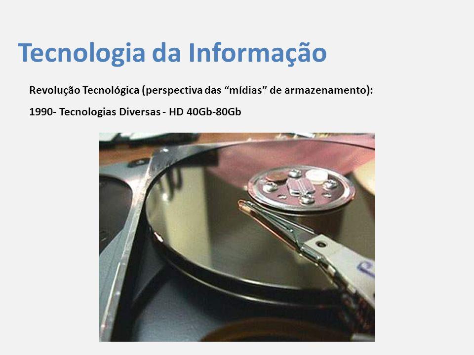 """Tecnologia da Informação Revolução Tecnológica (perspectiva das """"mídias"""" de armazenamento): 1990- Tecnologias Diversas - HD 40Gb-80Gb"""