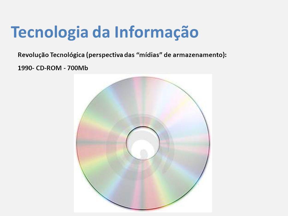 """Tecnologia da Informação Revolução Tecnológica (perspectiva das """"mídias"""" de armazenamento): 1990- CD-ROM - 700Mb"""