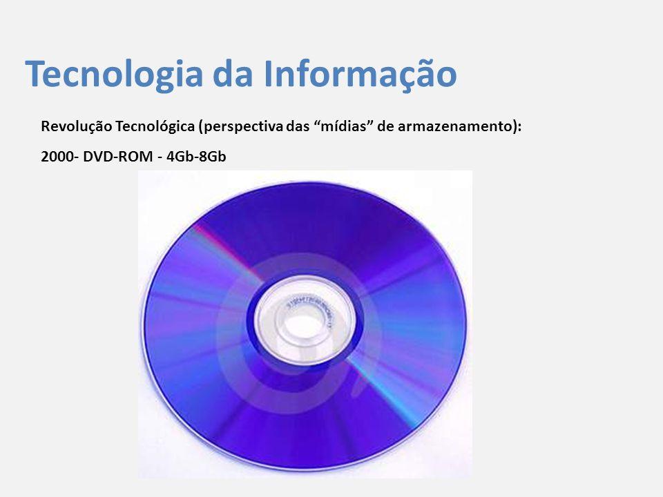 """Tecnologia da Informação Revolução Tecnológica (perspectiva das """"mídias"""" de armazenamento): 2000- DVD-ROM - 4Gb-8Gb"""