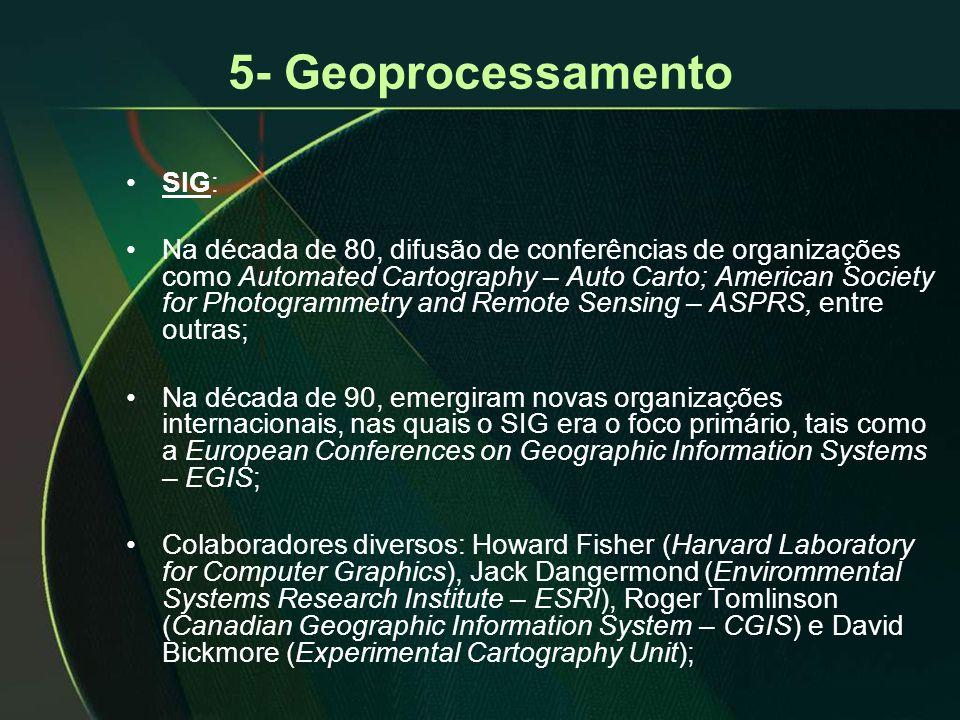 5- Geoprocessamento •SIG: •Na década de 80, difusão de conferências de organizações como Automated Cartography – Auto Carto; American Society for Phot