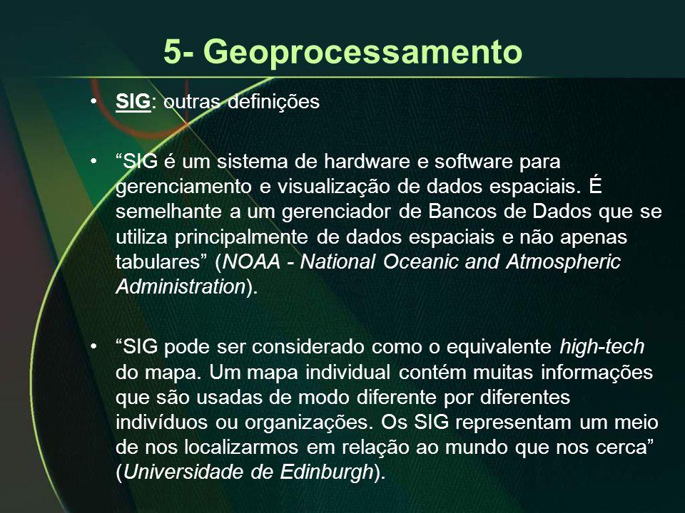 """5- Geoprocessamento •SIG: outras definições •""""SIG é um sistema de hardware e software para gerenciamento e visualização de dados espaciais. É semelhan"""