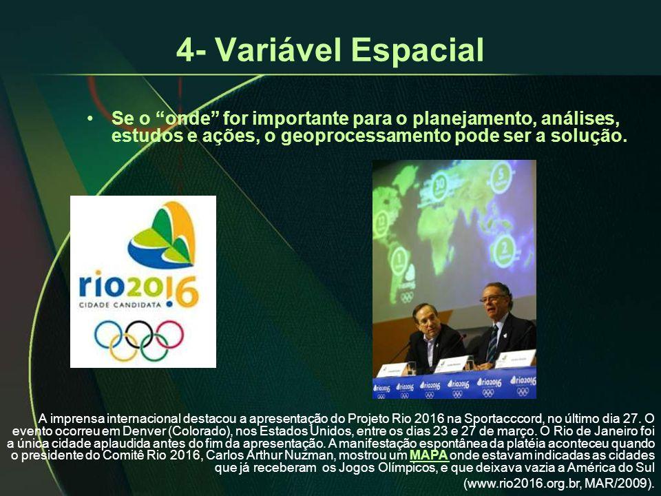 4- Variável Espacial •Se o onde for importante para o planejamento, análises, estudos e ações, o geoprocessamento pode ser a solução.