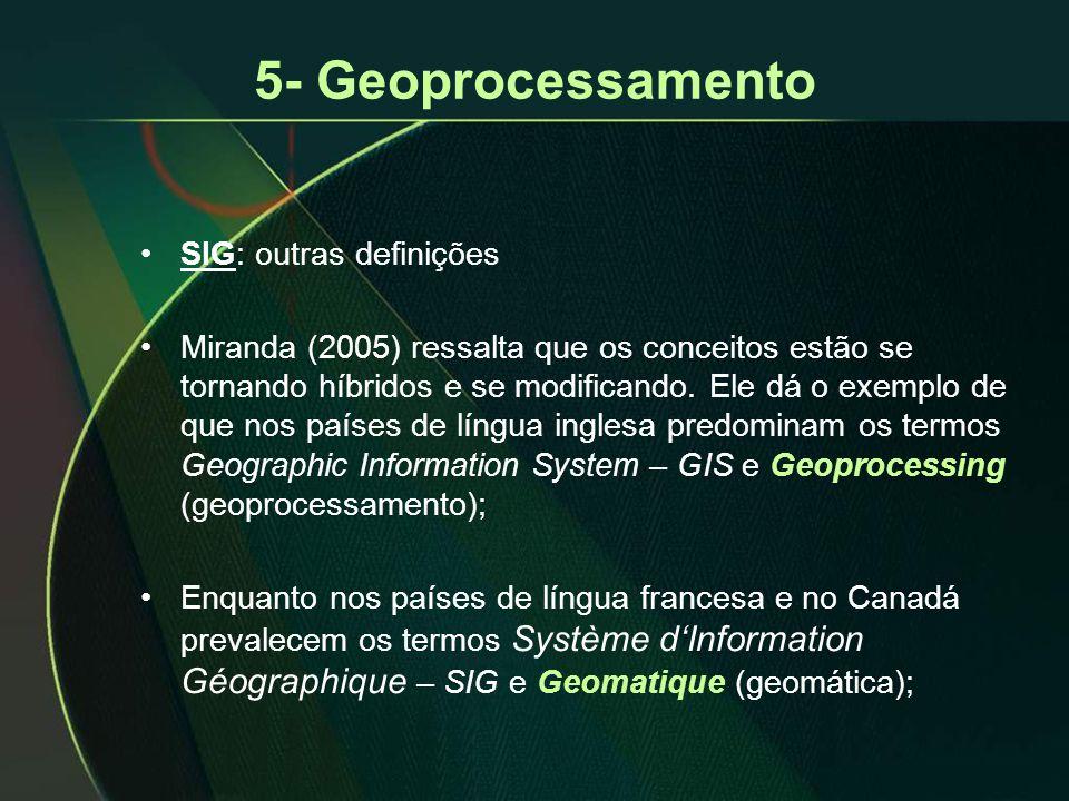 5- Geoprocessamento •SIG: outras definições •Miranda (2005) ressalta que os conceitos estão se tornando híbridos e se modificando. Ele dá o exemplo de