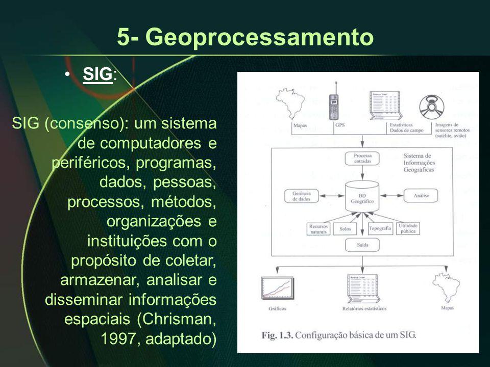 5- Geoprocessamento •SIG: SIG (consenso): um sistema de computadores e periféricos, programas, dados, pessoas, processos, métodos, organizações e instituições com o propósito de coletar, armazenar, analisar e disseminar informações espaciais (Chrisman, 1997, adaptado)