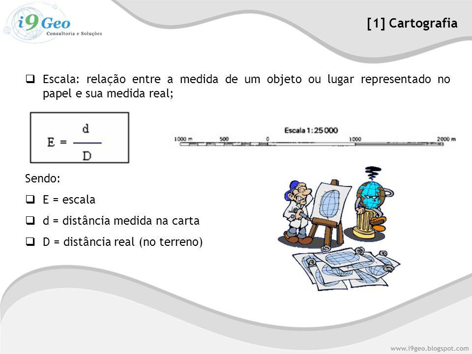  Escala: relação entre a medida de um objeto ou lugar representado no papel e sua medida real; Sendo:  E = escala  d = distância medida na carta  D = distância real (no terreno) [1] Cartografia