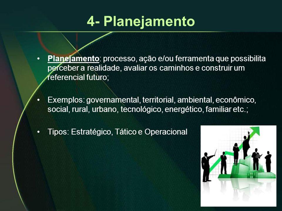 4- Planejamento •Planejamento: processo, ação e/ou ferramenta que possibilita perceber a realidade, avaliar os caminhos e construir um referencial fut