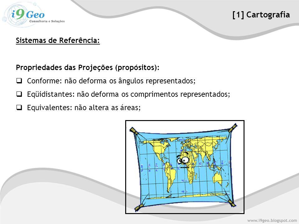 Propriedades das Projeções (propósitos):  Conforme: não deforma os ângulos representados;  Eqüidistantes: não deforma os comprimentos representados;  Equivalentes: não altera as áreas; [1] Cartografia