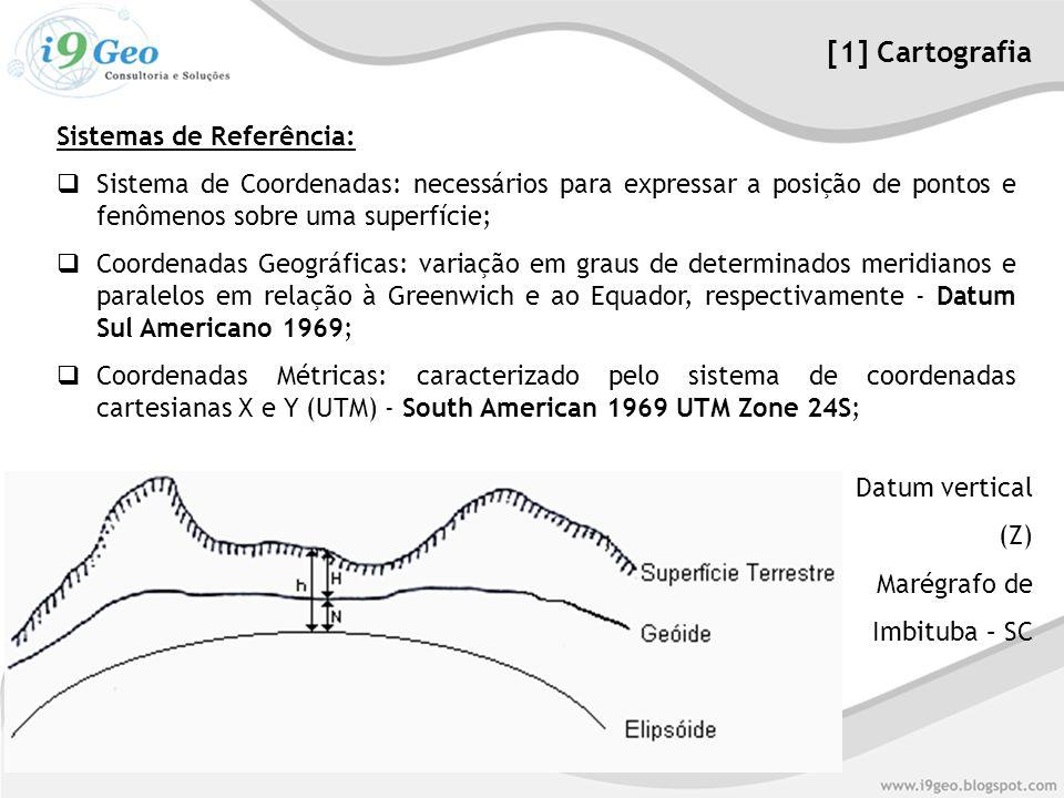 Sistemas de Referência:  Sistema de Coordenadas: necessários para expressar a posição de pontos e fenômenos sobre uma superfície;  Coordenadas Geográficas: variação em graus de determinados meridianos e paralelos em relação à Greenwich e ao Equador, respectivamente - Datum Sul Americano 1969;  Coordenadas Métricas: caracterizado pelo sistema de coordenadas cartesianas X e Y (UTM) - South American 1969 UTM Zone 24S; [1] Cartografia Datum vertical (Z) Marégrafo de Imbituba – SC