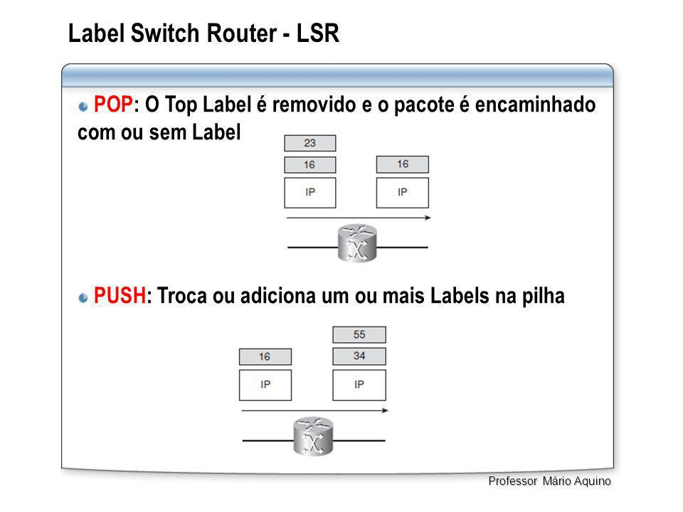 Label Switch Router - LSR POP: O Top Label é removido e o pacote é encaminhado com ou sem Label PUSH: Troca ou adiciona um ou mais Labels na pilha Professor Mário Aquino