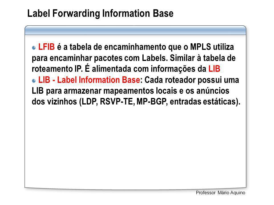 Label Forwarding Information Base LFIB é a tabela de encaminhamento que o MPLS utiliza para encaminhar pacotes com Labels. Similar à tabela de roteame