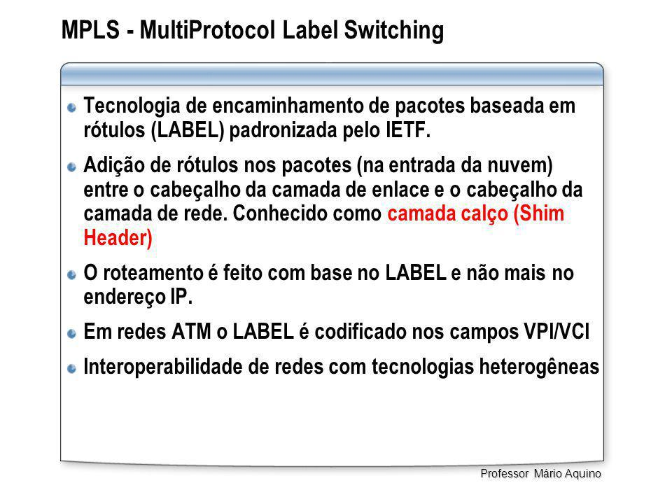 MPLS - MultiProtocol Label Switching Tecnologia de encaminhamento de pacotes baseada em rótulos (LABEL) padronizada pelo IETF. Adição de rótulos nos p