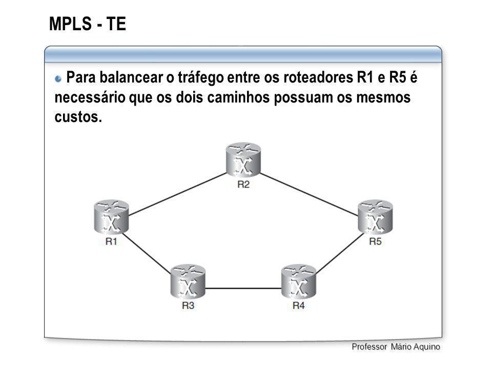 MPLS - TE Para balancear o tráfego entre os roteadores R1 e R5 é necessário que os dois caminhos possuam os mesmos custos. Professor Mário Aquino