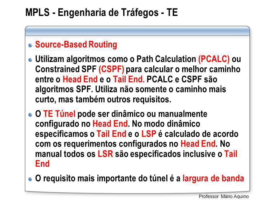 MPLS - Engenharia de Tráfegos - TE Source-Based Routing Utilizam algoritmos como o Path Calculation (PCALC) ou Constrained SPF (CSPF) para calcular o melhor caminho entre o Head End e o Tail End.