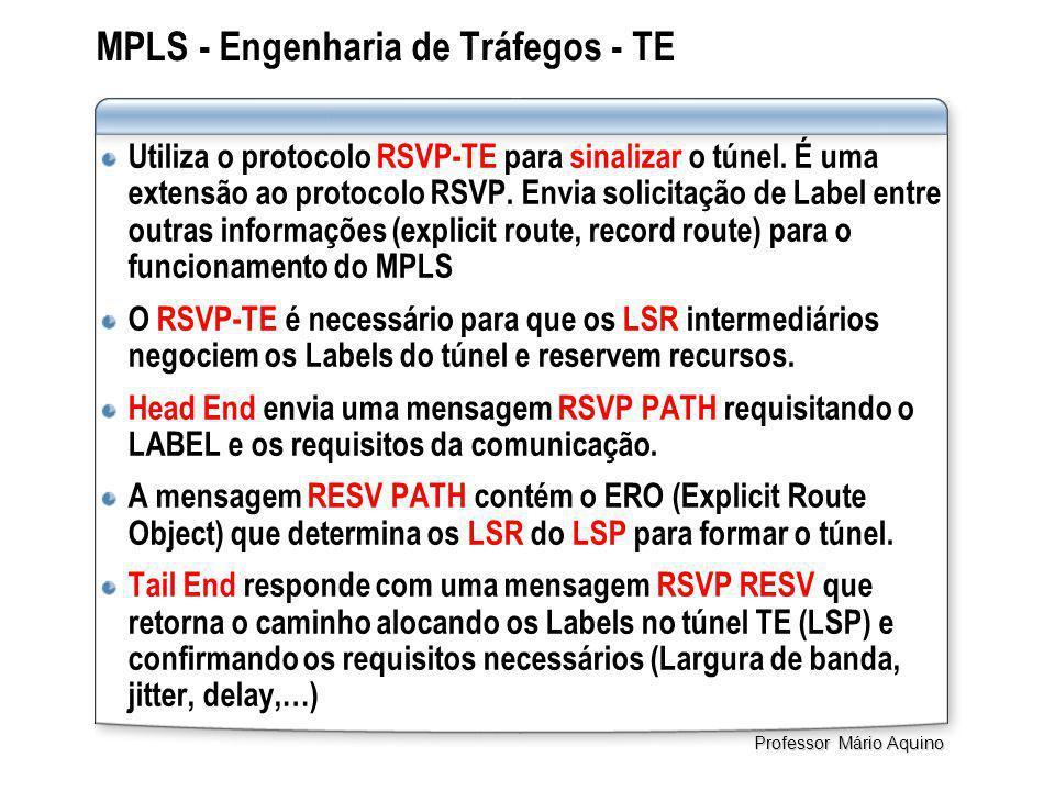MPLS - Engenharia de Tráfegos - TE Utiliza o protocolo RSVP-TE para sinalizar o túnel. É uma extensão ao protocolo RSVP. Envia solicitação de Label en