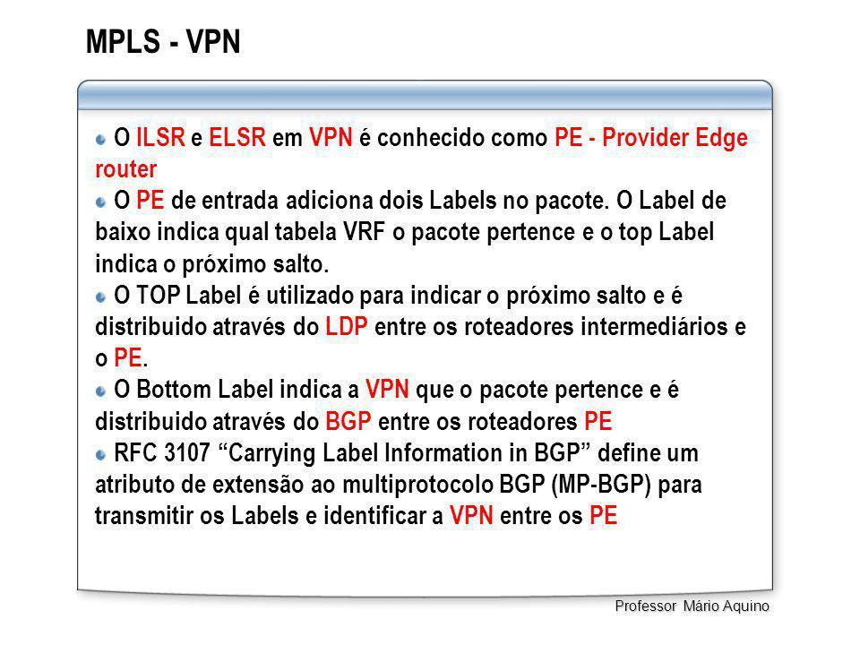 MPLS - VPN O ILSR e ELSR em VPN é conhecido como PE - Provider Edge router O PE de entrada adiciona dois Labels no pacote. O Label de baixo indica qua