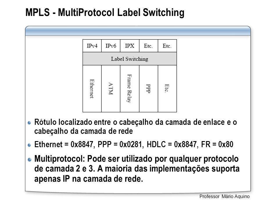 MPLS - MultiProtocol Label Switching Rótulo localizado entre o cabeçalho da camada de enlace e o cabeçalho da camada de rede Ethernet = 0x8847, PPP = 0x0281, HDLC = 0x8847, FR = 0x80 Multiprotocol: Pode ser utilizado por qualquer protocolo de camada 2 e 3.