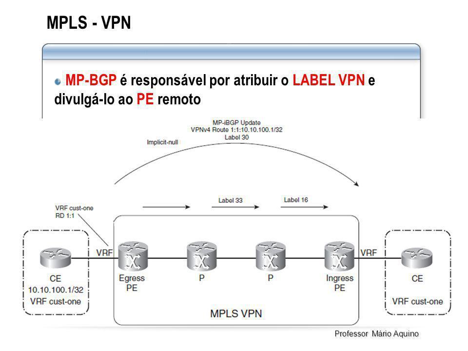 MPLS - VPN MP-BGP é responsável por atribuir o LABEL VPN e divulgá-lo ao PE remoto Professor Mário Aquino