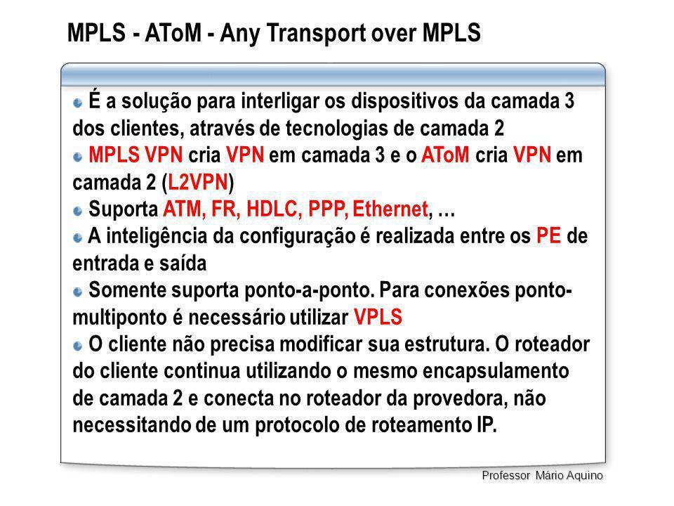 MPLS - AToM - Any Transport over MPLS É a solução para interligar os dispositivos da camada 3 dos clientes, através de tecnologias de camada 2 MPLS VPN cria VPN em camada 3 e o AToM cria VPN em camada 2 (L2VPN) Suporta ATM, FR, HDLC, PPP, Ethernet, … A inteligência da configuração é realizada entre os PE de entrada e saída Somente suporta ponto-a-ponto.
