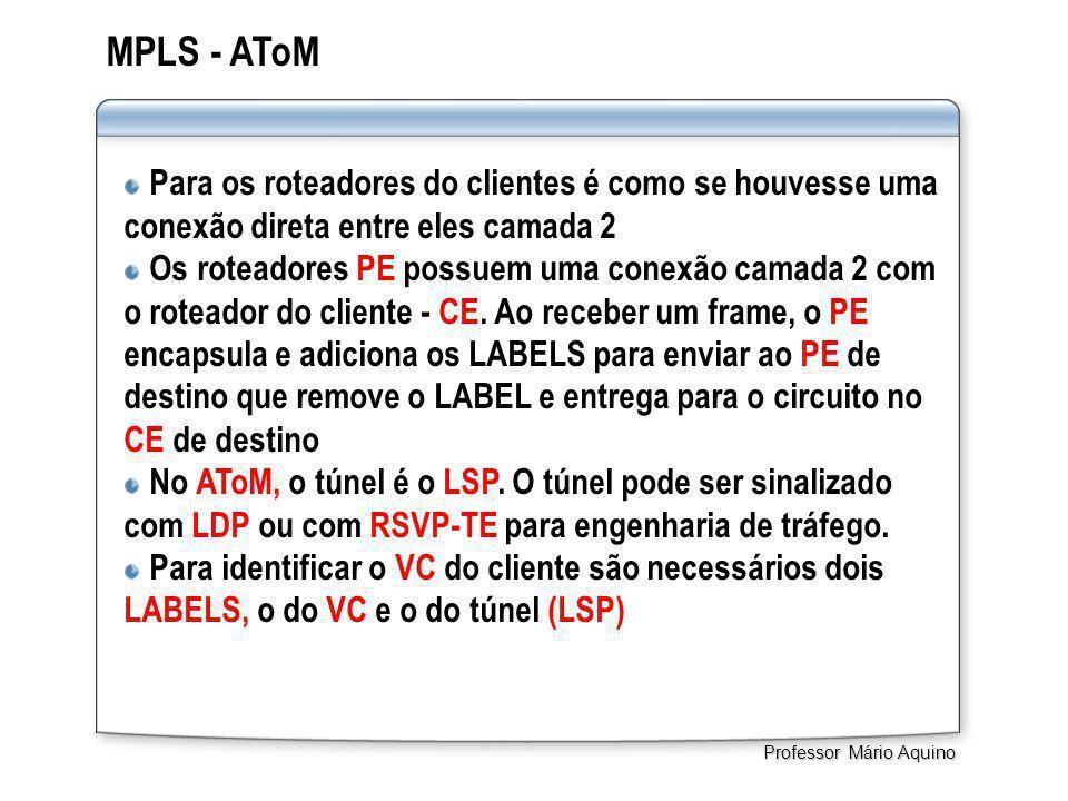 MPLS - AToM Para os roteadores do clientes é como se houvesse uma conexão direta entre eles camada 2 Os roteadores PE possuem uma conexão camada 2 com o roteador do cliente - CE.