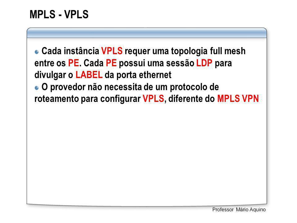 MPLS - VPLS Cada instância VPLS requer uma topologia full mesh entre os PE. Cada PE possui uma sessão LDP para divulgar o LABEL da porta ethernet O pr