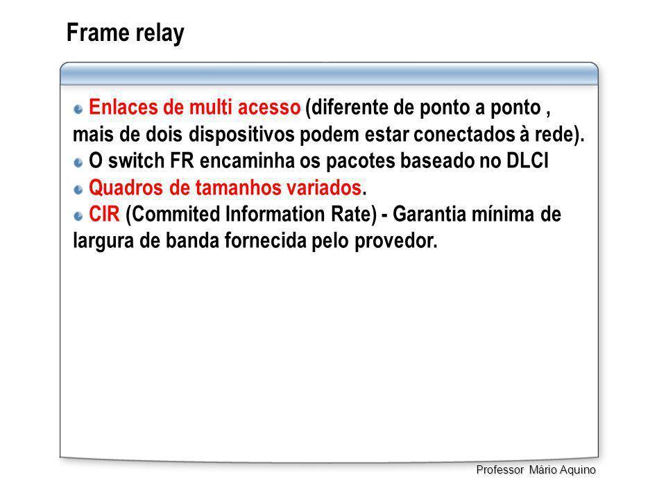 Frame relay Enlaces de multi acesso (diferente de ponto a ponto, mais de dois dispositivos podem estar conectados à rede). O switch FR encaminha os pa