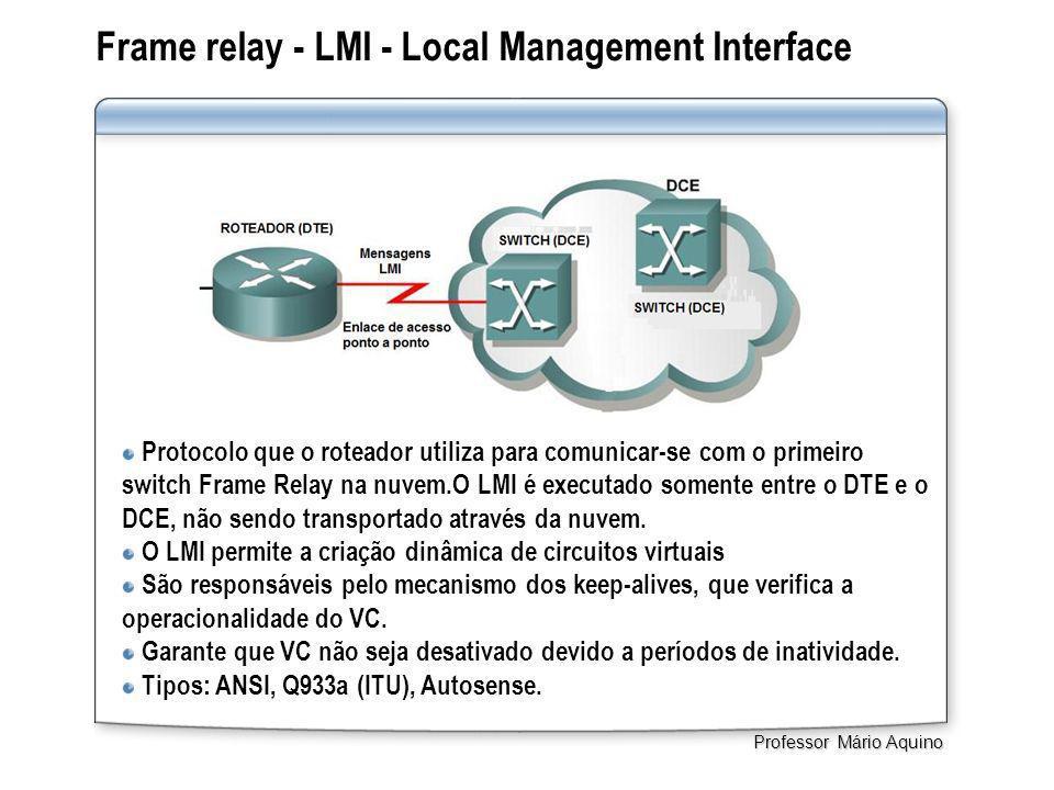 Frame relay - LMI - Local Management Interface. Professor Mário Aquino Protocolo que o roteador utiliza para comunicar-se com o primeiro switch Frame