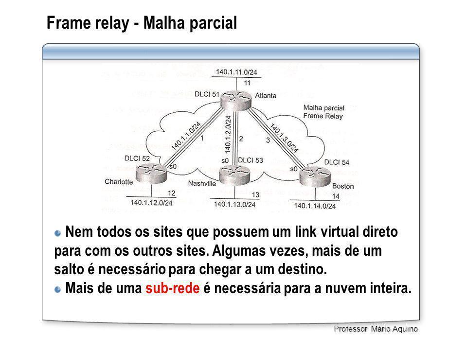 Frame relay - Malha parcial Nem todos os sites que possuem um link virtual direto para com os outros sites. Algumas vezes, mais de um salto é necessár